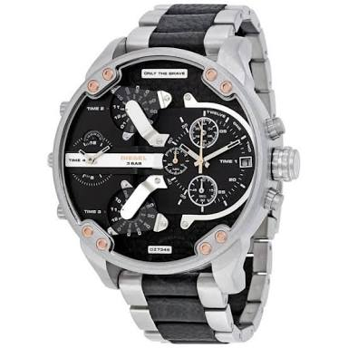 Diesel DZ7349 Mens Mr Daddy Silver Black Reloj multifunción