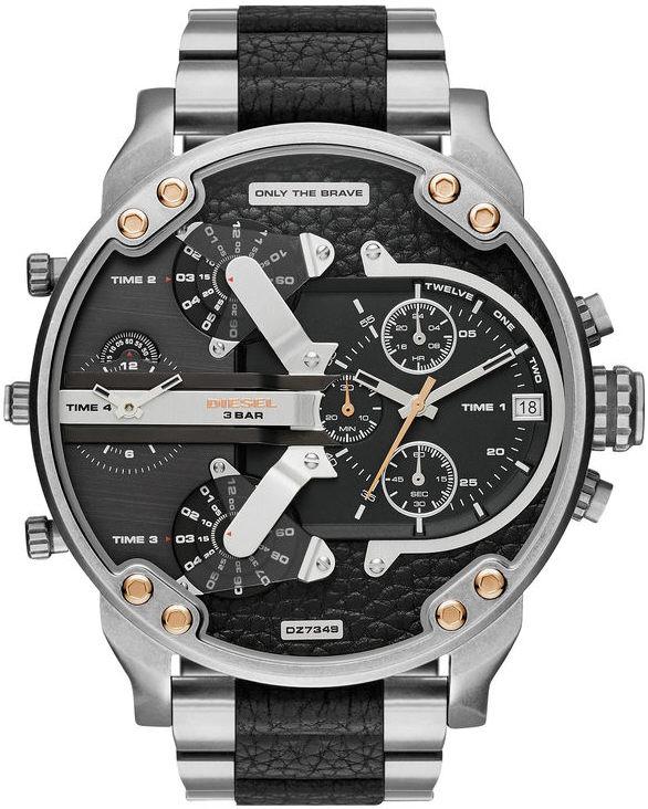 Diesel DZ7349 Mens Mr Daddy Silver Black Reloj multifunción